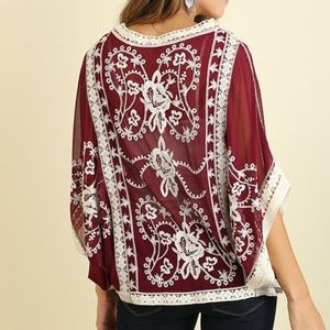 Umgee Wine Embroidered Sheer Top